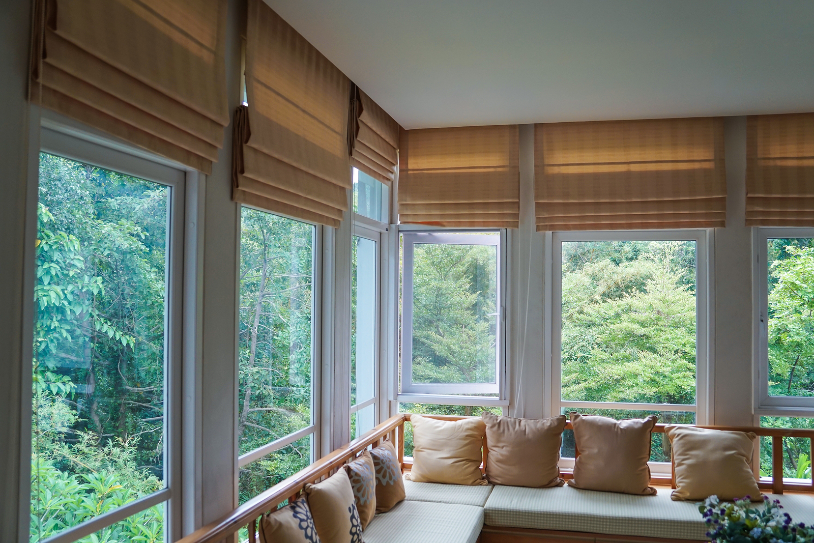 Brown Roman Blind Shade Curtain Tree Forest Mountain Background